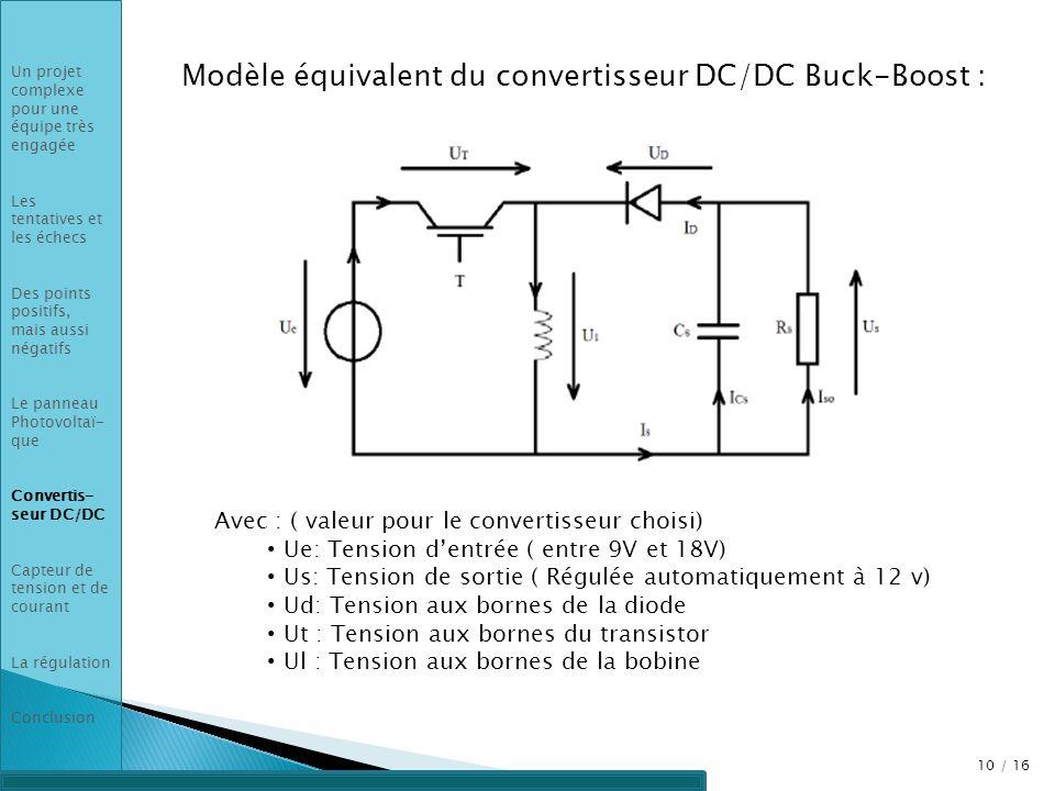 Modèle équivalent du convertisseur DC/DC Buck-Boost :