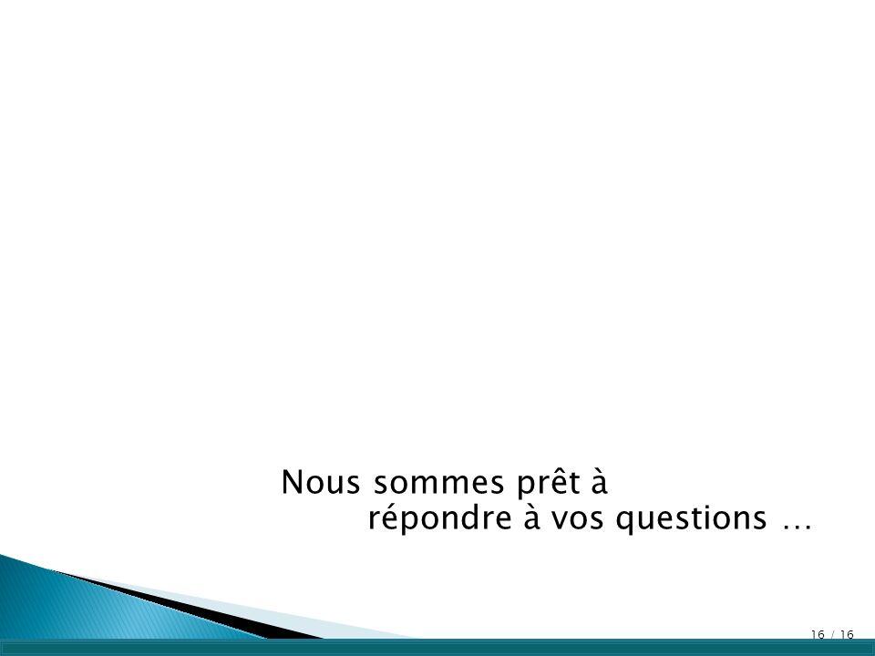 Nous sommes prêt à répondre à vos questions …
