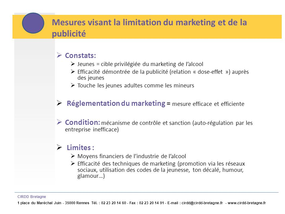 Mesures visant la limitation du marketing et de la publicité