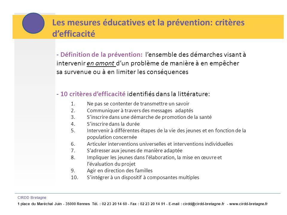 Les mesures éducatives et la prévention: critères d'efficacité