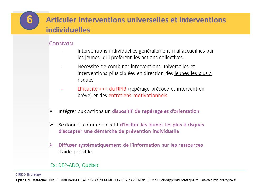 6 Articuler interventions universelles et interventions individuelles