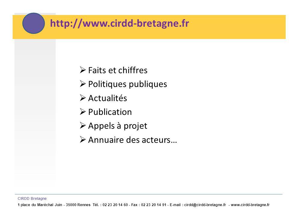 http://www.cirdd-bretagne.fr Faits et chiffres Politiques publiques