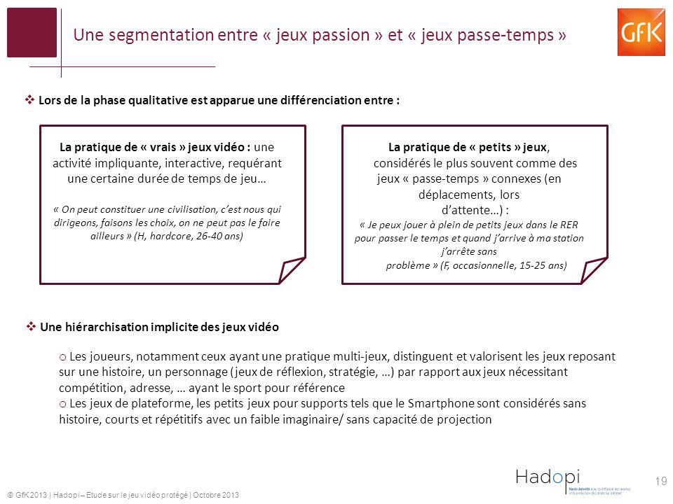 Une segmentation entre « jeux passion » et « jeux passe-temps »