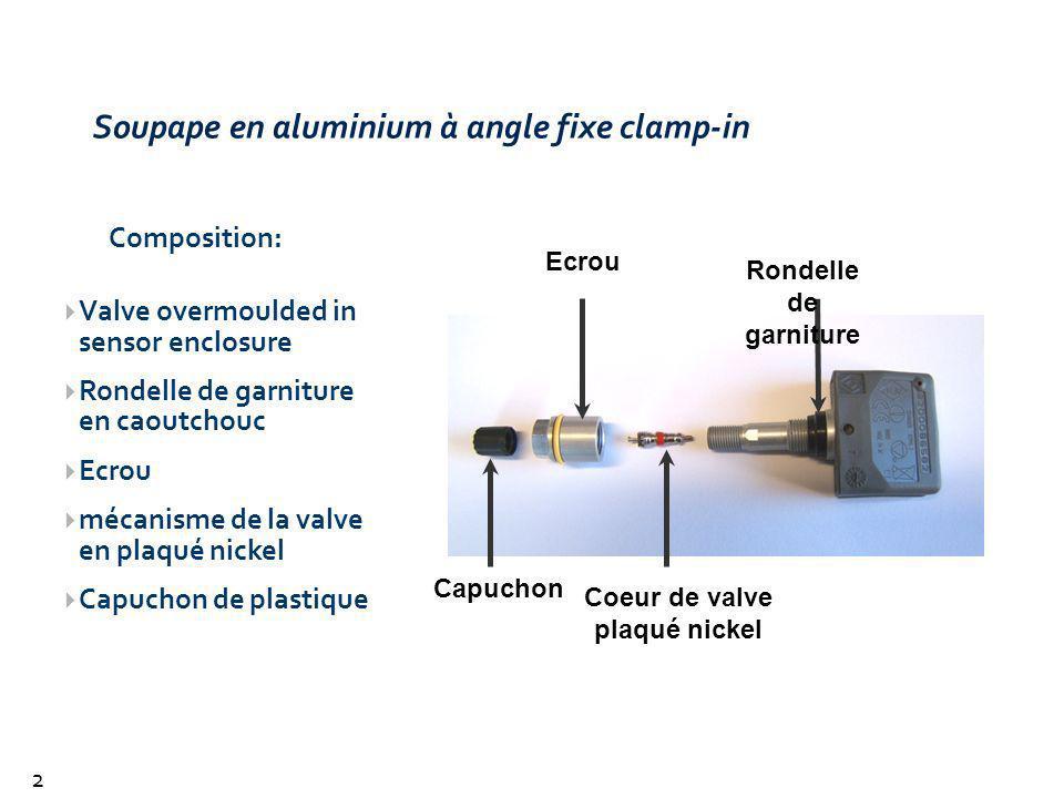 Soupape en aluminium à angle fixe clamp-in
