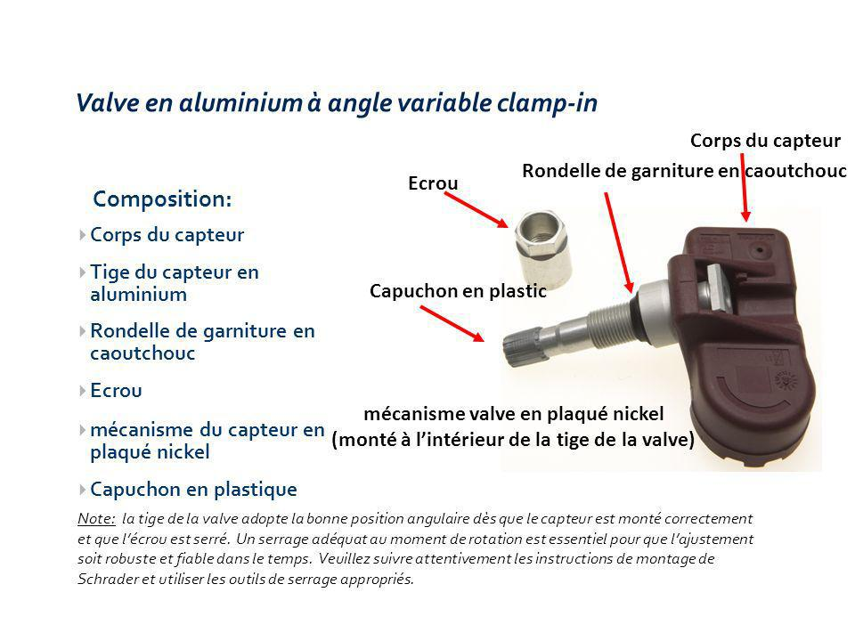 Valve en aluminium à angle variable clamp-in