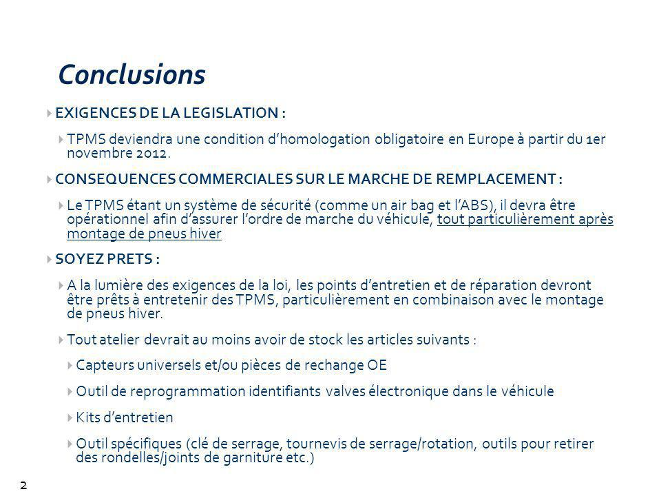 Conclusions EXIGENCES DE LA LEGISLATION :