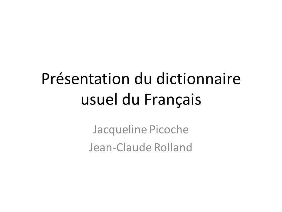 Présentation du dictionnaire usuel du Français