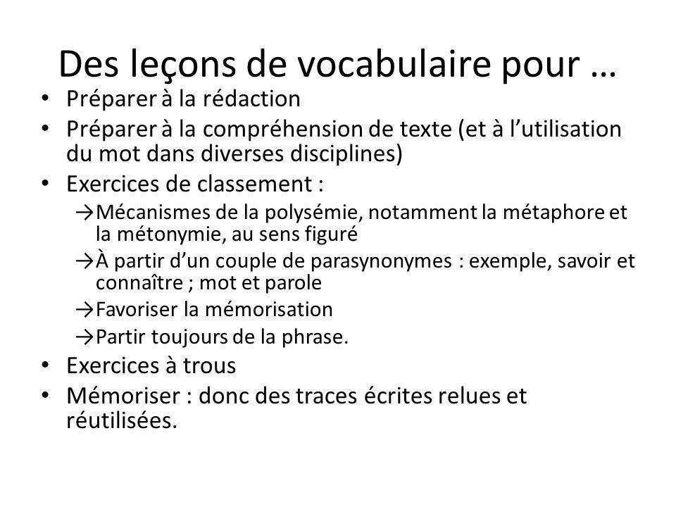 Des leçons de vocabulaire pour …