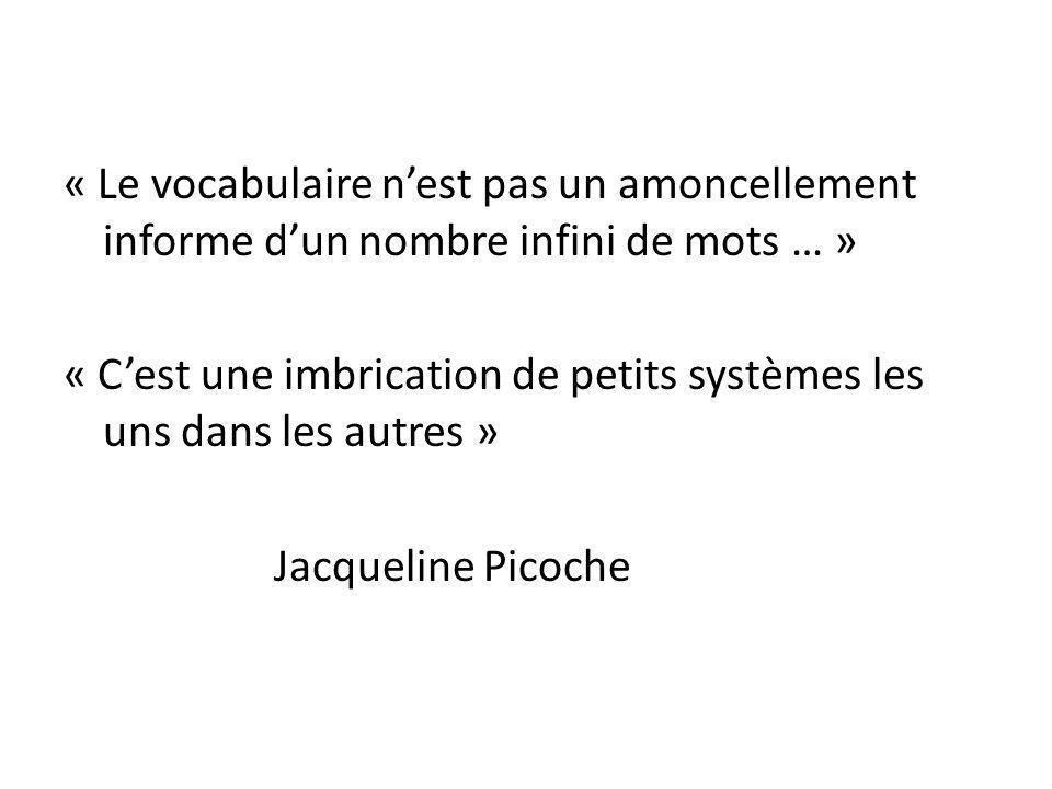« Le vocabulaire n'est pas un amoncellement informe d'un nombre infini de mots … » « C'est une imbrication de petits systèmes les uns dans les autres » Jacqueline Picoche