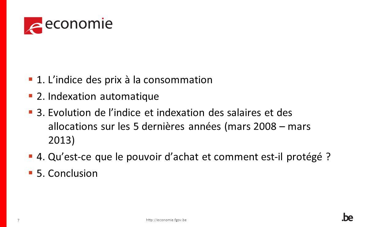 1. L'indice des prix à la consommation 2. Indexation automatique