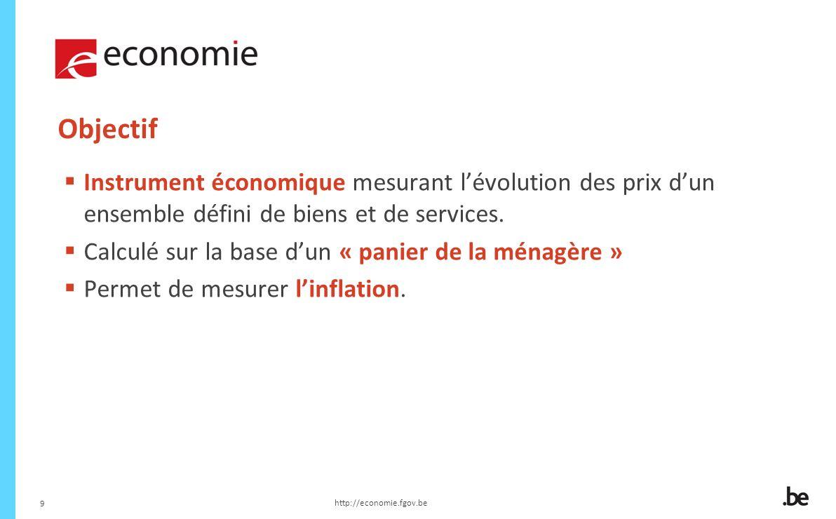 Objectif Instrument économique mesurant l'évolution des prix d'un ensemble défini de biens et de services.