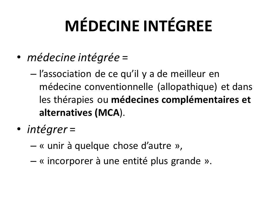 MÉDECINE INTÉGREE médecine intégrée = intégrer =