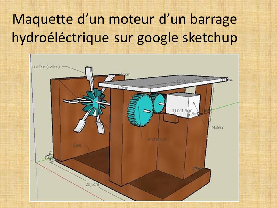 Maquette d'un moteur d'un barrage hydroéléctrique sur google sketchup