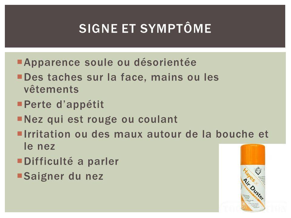 Signe et symptôme Apparence soule ou désorientée
