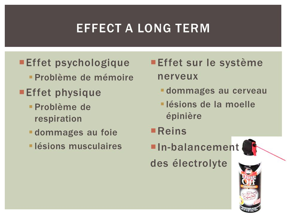Effect a long term Effet psychologique Effet physique