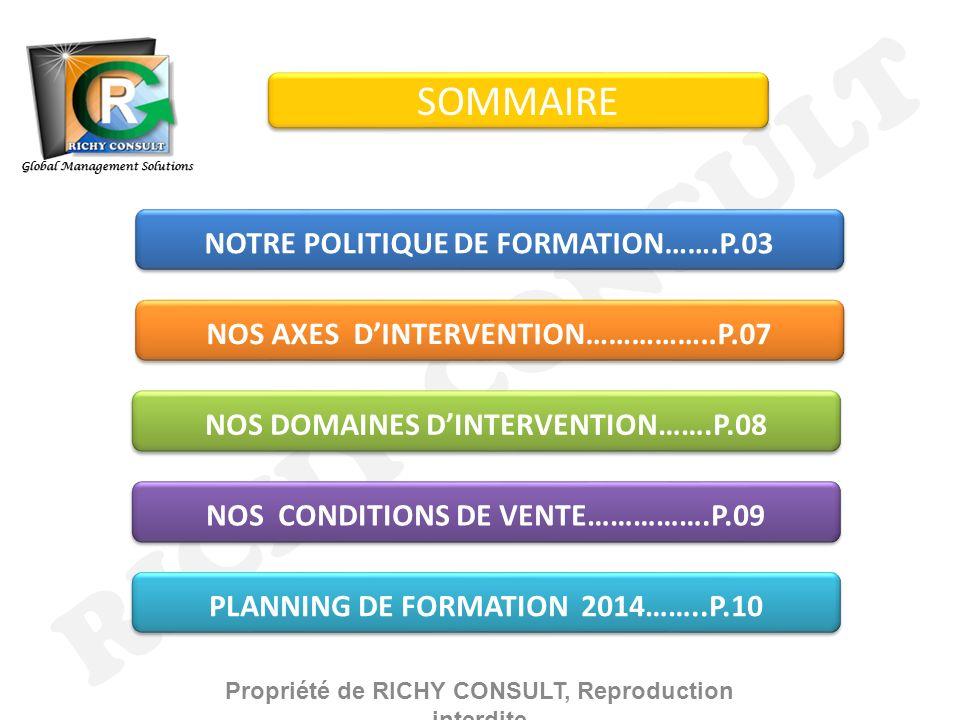 RICHY CONSULT SOMMAIRE NOTRE POLITIQUE DE FORMATION…….P.03