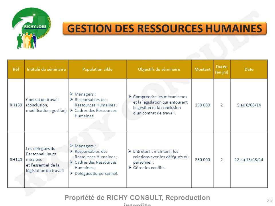 RICHY CONSULT GESTION DES RESSOURCES HUMAINES