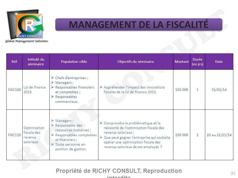 RICHY CONSULT MANAGEMENT DE LA FISCALITÉ
