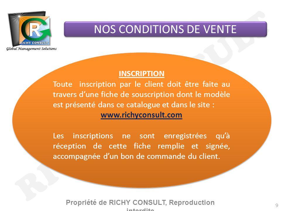 Propriété de RICHY CONSULT, Reproduction interdite