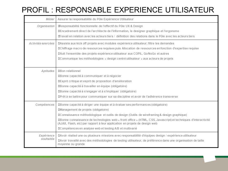 Profil : responsable EXPERIENCE UTILISATEUR