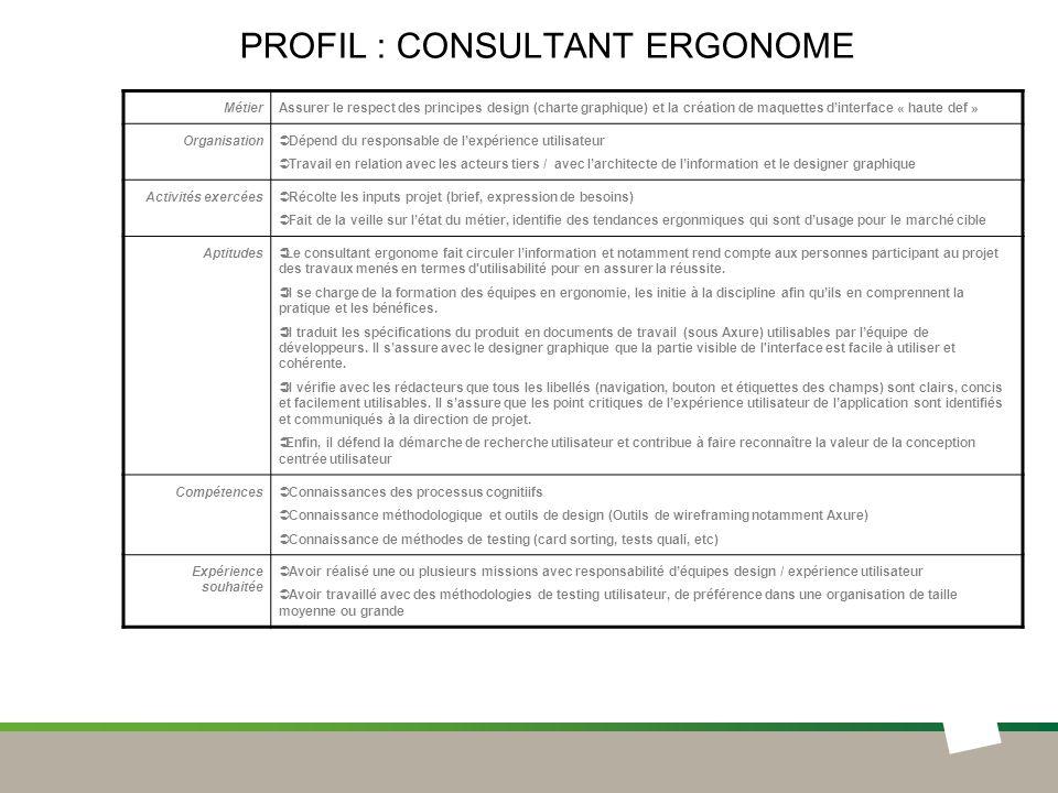 Profil : CONSULTANT ERGONOME