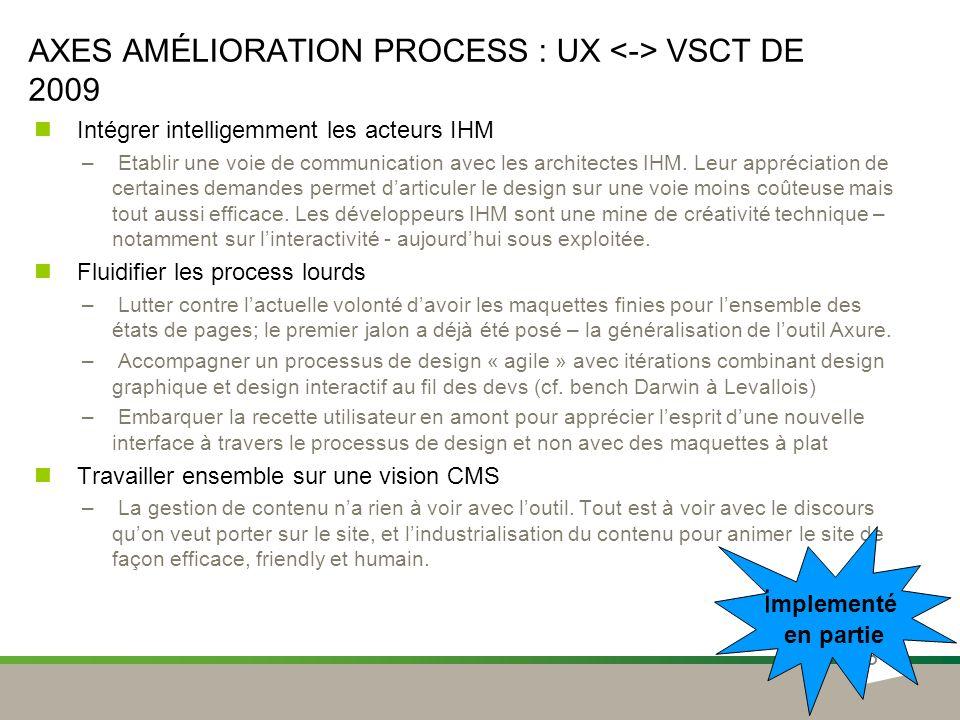 Axes amélioration process : UX <-> VSCT de 2009