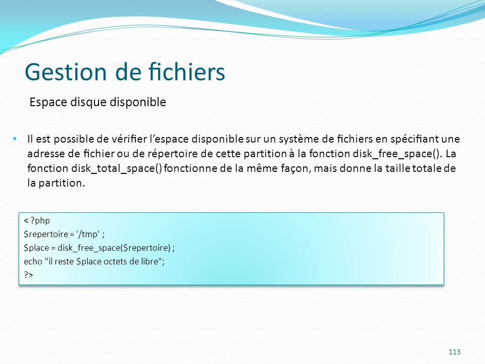 Gestion de fichiers Espace disque disponible