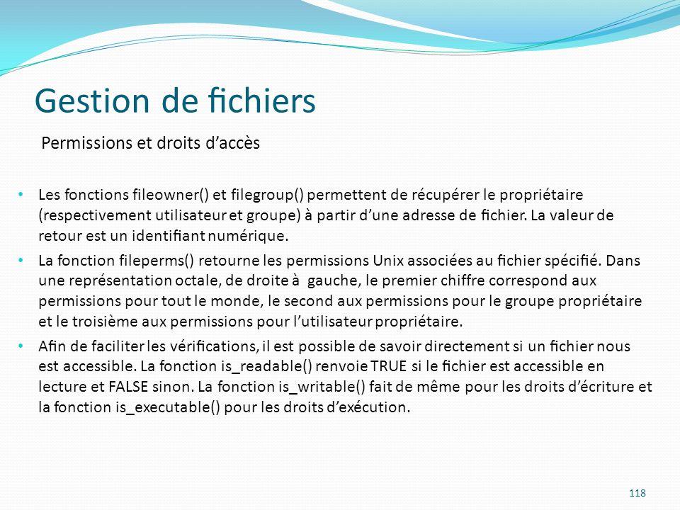 Gestion de fichiers Permissions et droits d'accès
