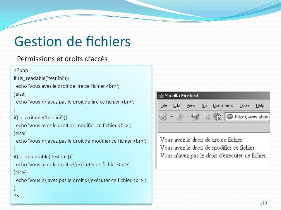 Gestion de fichiers Permissions et droits d'accès < php