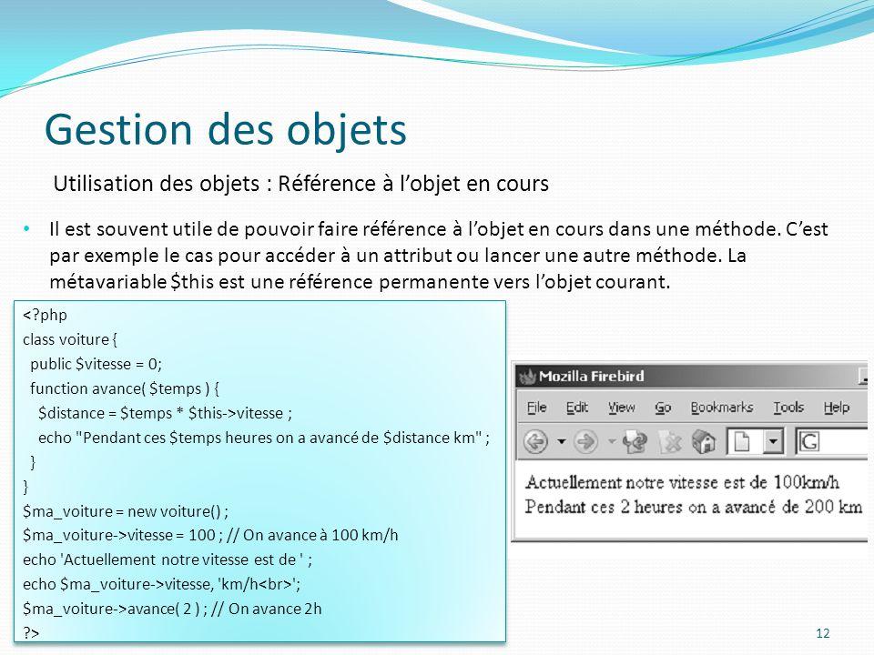Gestion des objets Utilisation des objets : Référence à l'objet en cours.