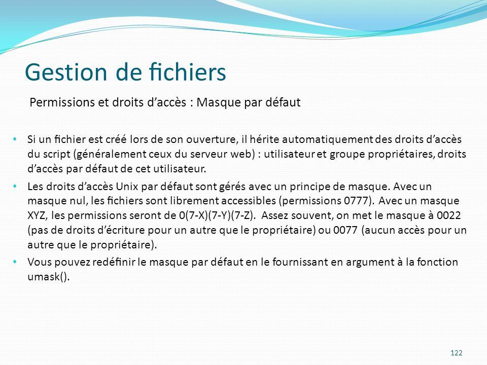 Gestion de fichiers Permissions et droits d'accès : Masque par défaut