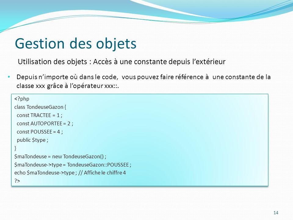 Gestion des objets Utilisation des objets : Accès à une constante depuis l'extérieur.