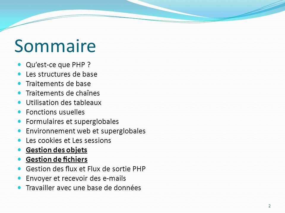 Sommaire Qu'est-ce que PHP Les structures de base