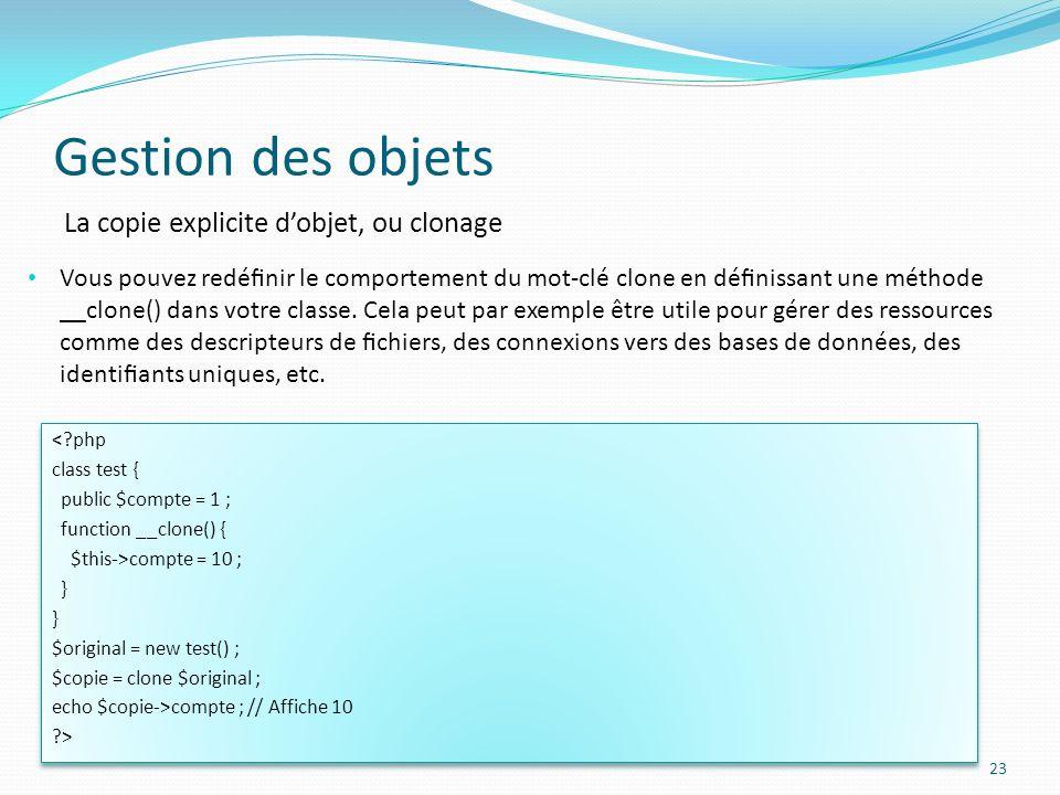 Gestion des objets La copie explicite d'objet, ou clonage