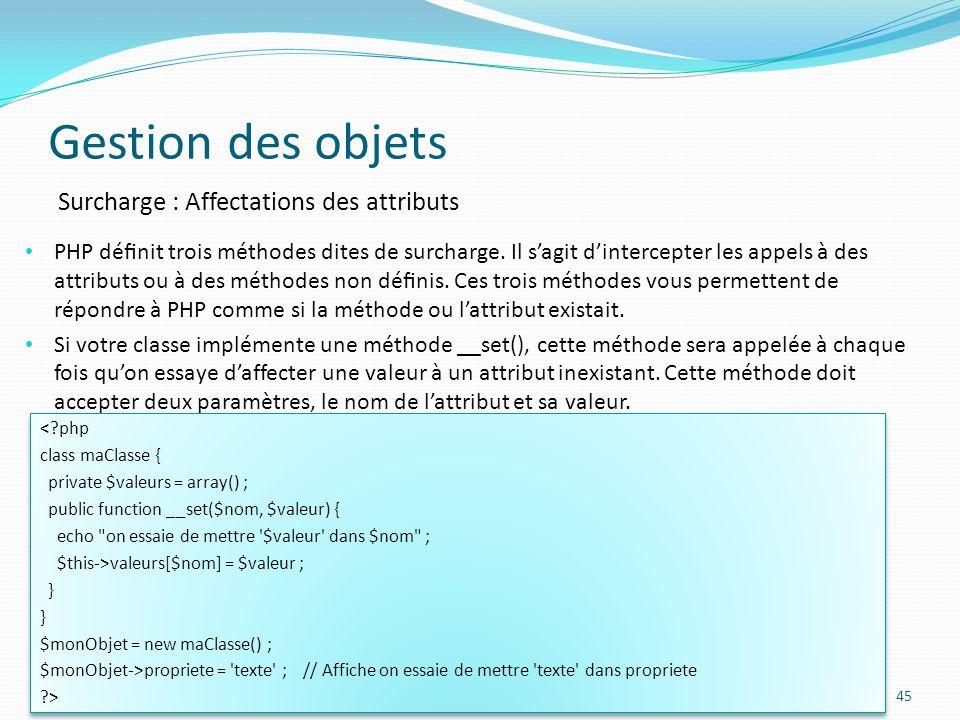 Gestion des objets Surcharge : Affectations des attributs