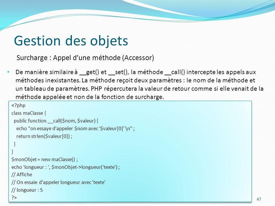Gestion des objets Surcharge : Appel d'une méthode (Accessor)
