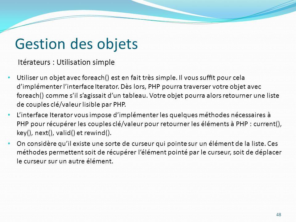 Gestion des objets Itérateurs : Utilisation simple