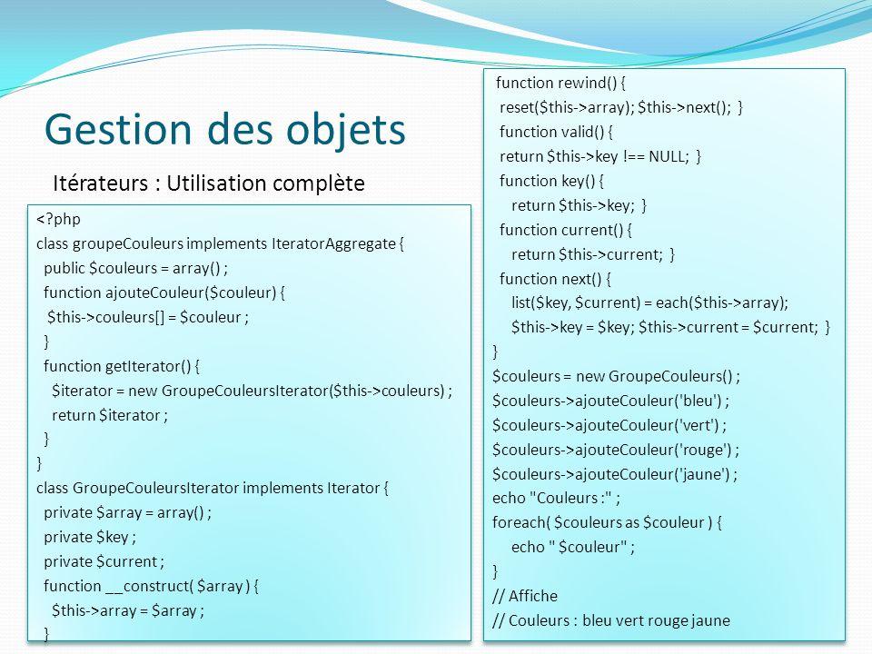 Gestion des objets Itérateurs : Utilisation complète
