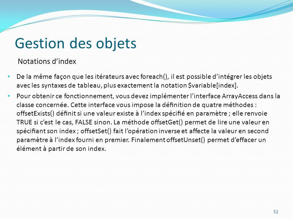 Gestion des objets Notations d'index