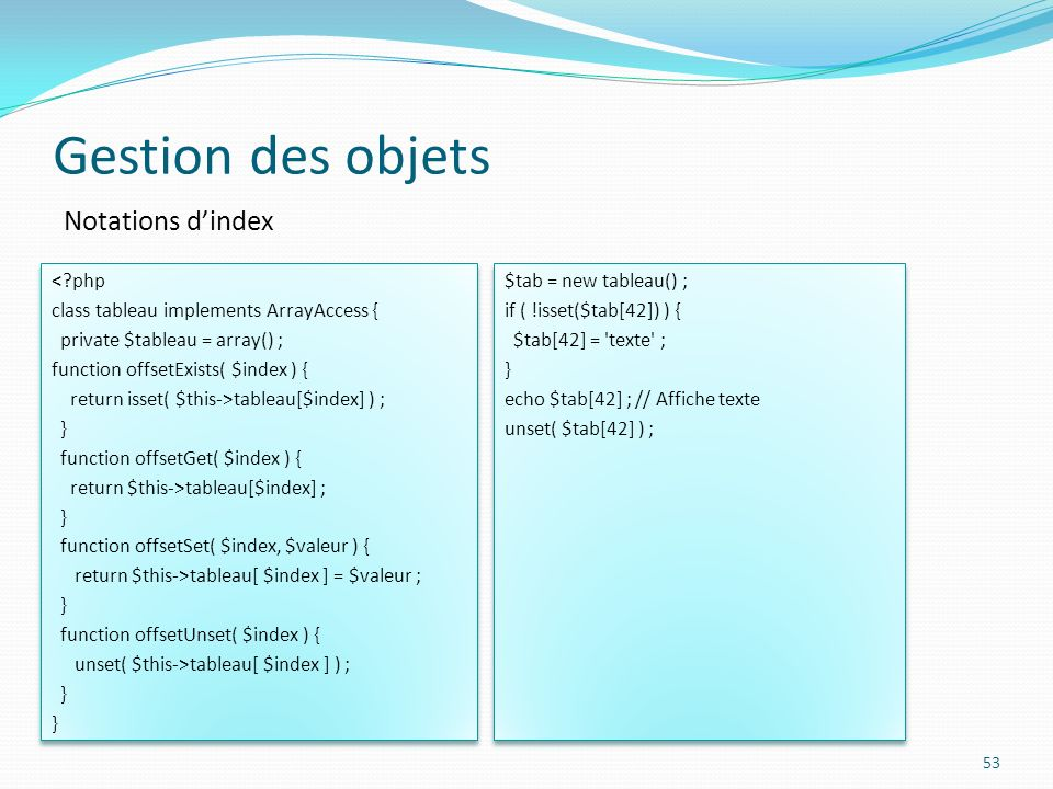 Gestion des objets Notations d'index < php