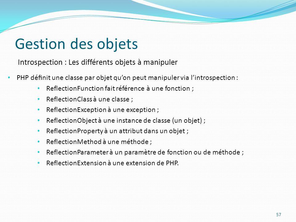 Gestion des objets Introspection : Les différents objets à manipuler