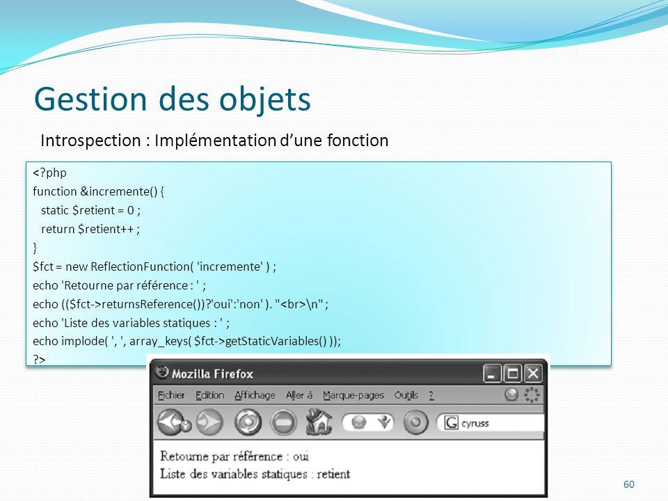 Gestion des objets Introspection : Implémentation d'une fonction