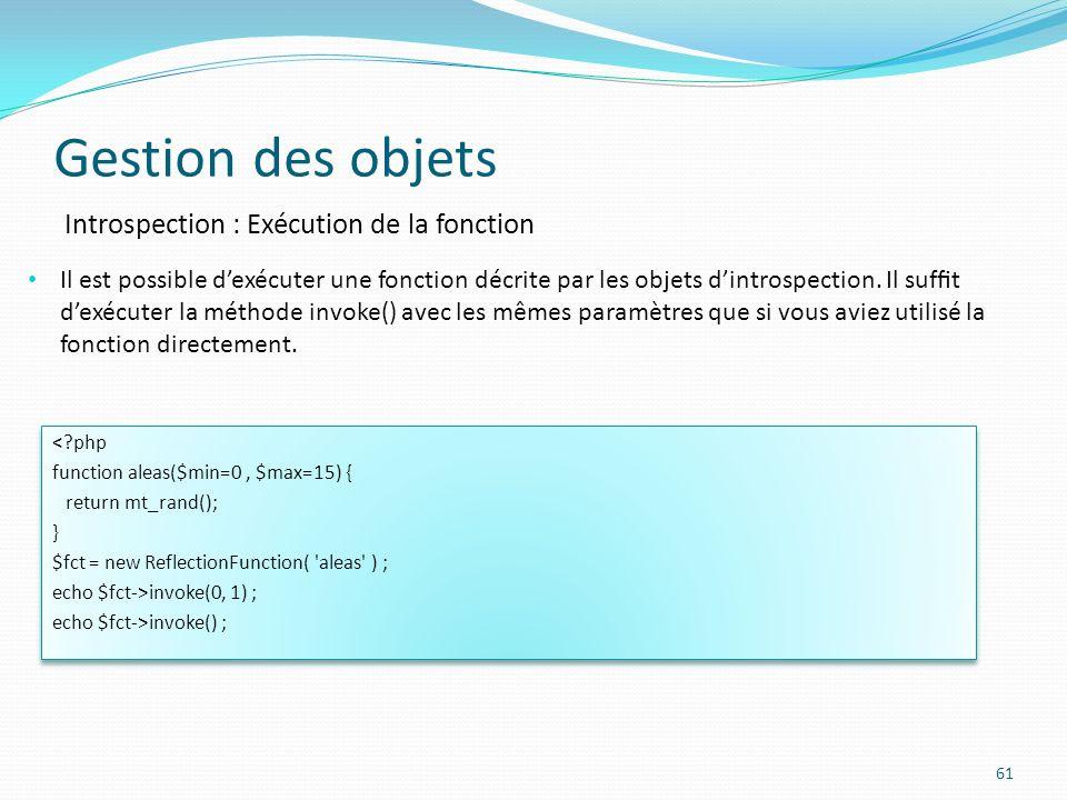 Gestion des objets Introspection : Exécution de la fonction