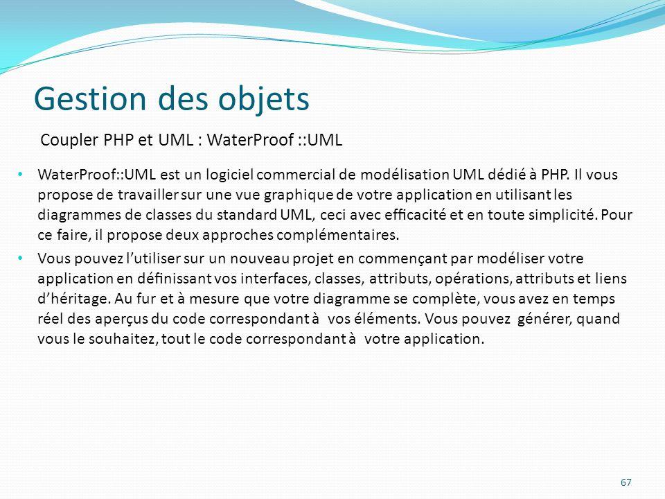 Gestion des objets Coupler PHP et UML : WaterProof ::UML