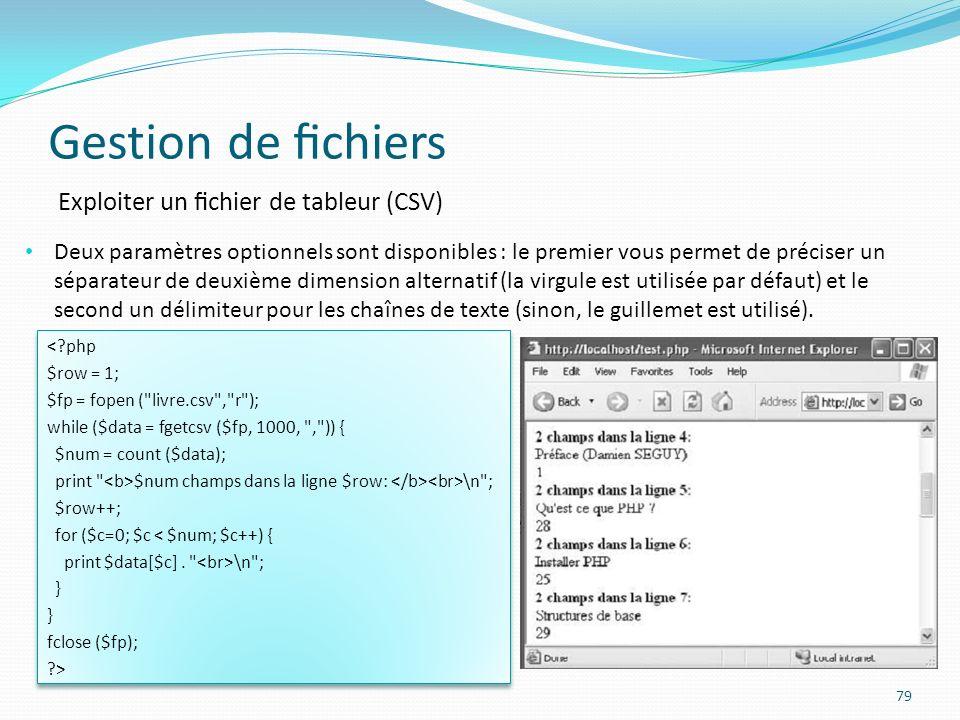 Gestion de fichiers Exploiter un fichier de tableur (CSV)