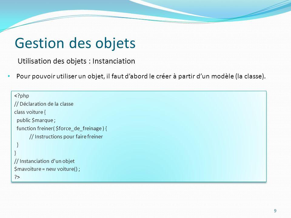 Gestion des objets Utilisation des objets : Instanciation