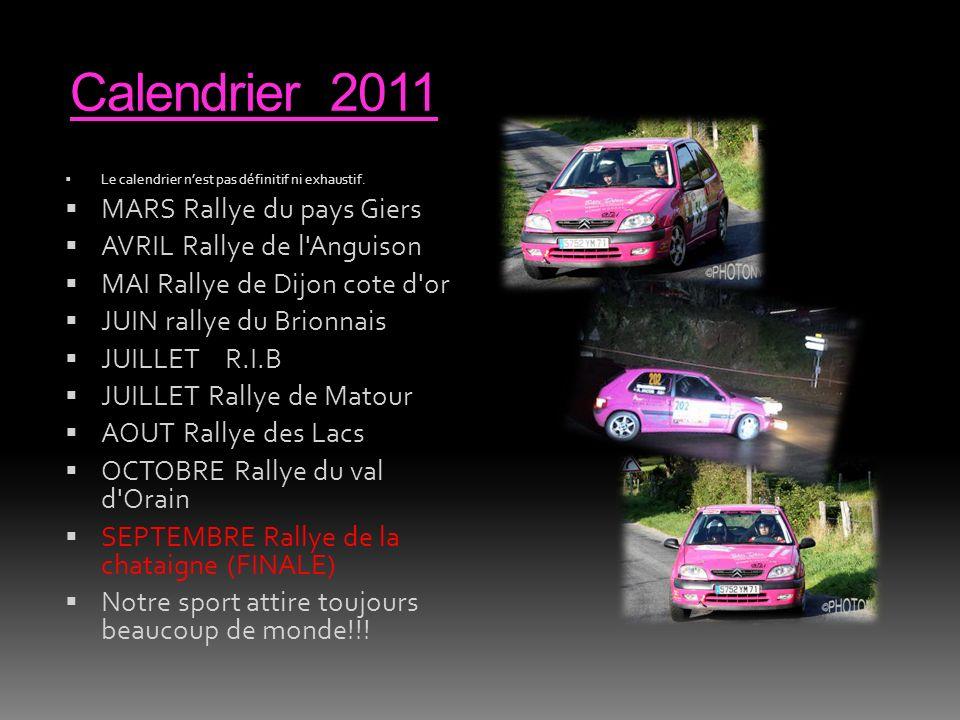 Calendrier 2011 MARS Rallye du pays Giers AVRIL Rallye de l Anguison