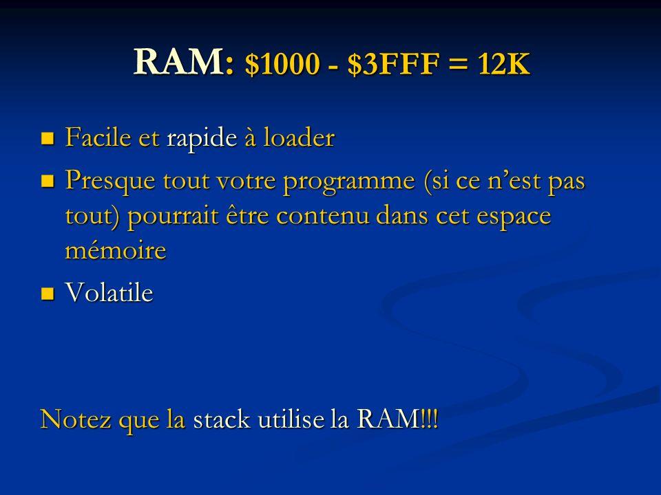 RAM: $1000 - $3FFF = 12K Facile et rapide à loader