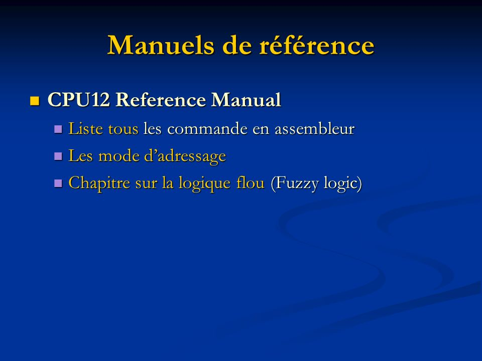 Manuels de référence CPU12 Reference Manual