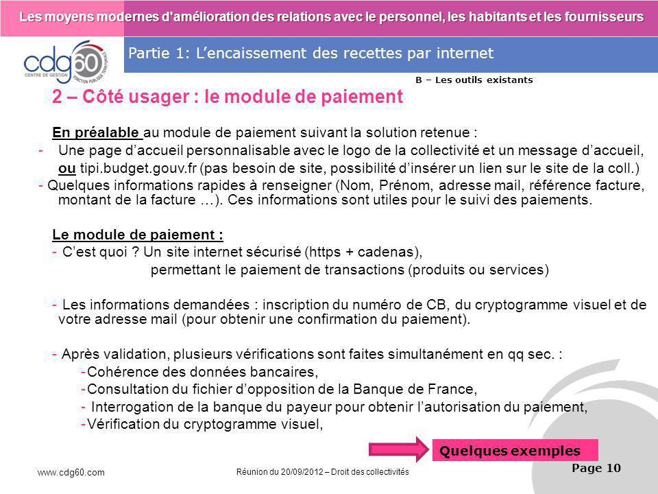 2 – Côté usager : le module de paiement